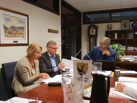 MØTTE LEDELSEN: Foreldrene fra Andebu ba om et møte med ledelsen i Sandefjord kommune - og det fikk de. Fra venstre ser vi kommunalsjef for helse og omsorg, Lise Tanum Aulie, konstituert rådmann Lars Petter Kjær og ordfører Bjørn Ole Gleditsch.