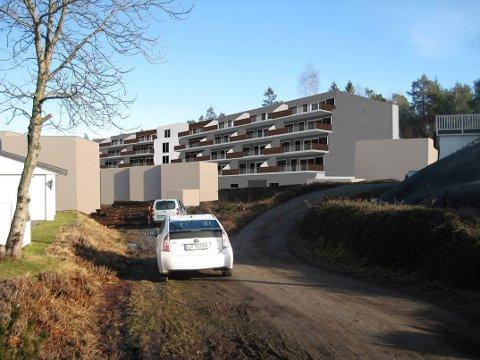 BOLIGER: I den nordøstre delen av Sandskjæråsen på Øvre Hasle planlegger utbyggeren blokkleiligheter. (Illustrasjon: Rambøll)