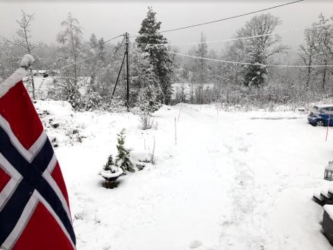 I vestre Kodal har det snødd gjennom natta og fram til mandag ettermiddag.