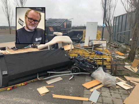 STRØDD: – De som kastet det hadde åpenbart dårlig tid, sier Hans Georg Lindhjem, eier og daglig leder av Skousen Sandefjord og Larvik.