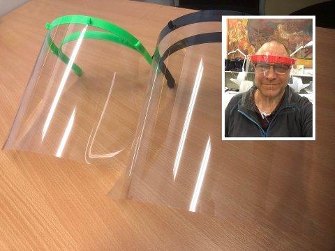 VISIRER: Den siste uka har Sandefjord videregående skole laget visirer med 3D-printer til tannhelsetjenesten i fylket. Lærer Daniel Fink er en av de som har bidratt i dugnaden.