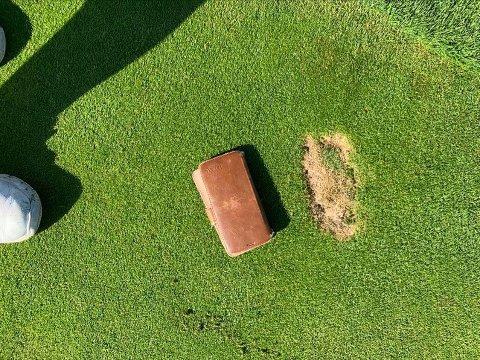 SLÅTT I STYKKER: De siste ukene har golfklubben opplevd at det har dukket opp hull som dette på halvparten av greenene deres.