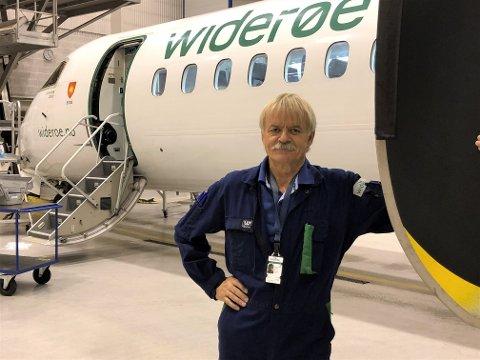 LENGST FARTSTID: Paul Lingjærde jobber på Widerøe Technical Services AS på Torp. Han har vært vitne til en eventyrlig utvikling både i bransjen og på selve flyplassen.