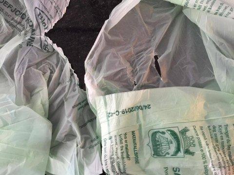 GÅR UT PÅ DATO: Bioposene er sjeldent gode etter ett år. Oppbevaring mørkt og tørt er alfa og omega. –  For å bestille nye poser knyter du en matavfallspose på utebeholderen din, da vil renovatøren legge igjen matposer neste gang de henter avfallet hos deg, sier kommunikasjonssjef Kaia E. Ross Lind i Vesar.FOTO: Vibeke Bjerkaas