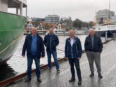 Leif Arne Moi Nilsen, Roy Steffensen, Pål Morten Borgli og Alf Kåre Olavesen fra MS Sandnes, som også er primus motor for å få på plass veteranbåtkaien i Stavanger.