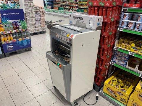 Denne maskinen er mulig å bruke igjen. Her fra Kiwi Vågsgata.