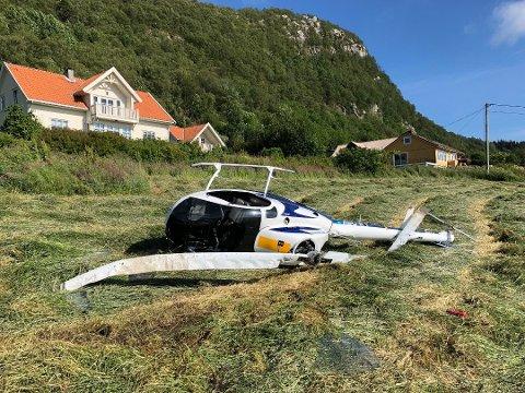 TOTALVRAK: Ingen ble skadd da helikopteret til Ståle Veland havarerte under landing på Veland sist fredag. Veland karakteriserer helikopteret som totalvrak.