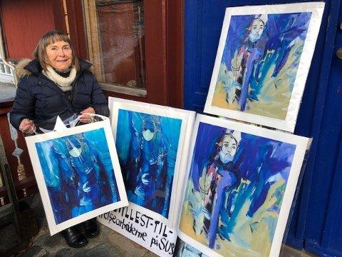 ENGASJERT: Sandnes-kunstner Marta Dortea Sagland Lea har laget malerier som en hyllest til helsearbeidere i en vanskelig koronatid. Nå havner et av disse maleriene på SUS.