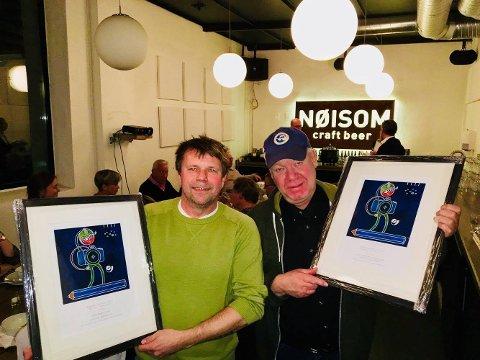 Hederlig omtale gikk til Geir Bjørnstad (t.v.) og Jarl Morten Andersen (t.h.) under utdelingen av Østfold Journalistlags «Journalistprisen 2017».