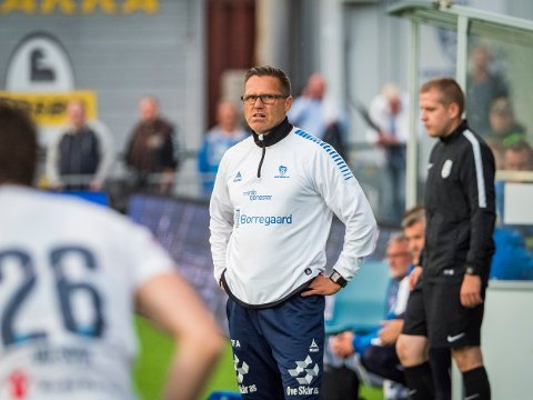 IKKE MED: Tom Freddy Aune er ikke med til Mjøndalen og Sarpsborg 08s kvatfinalekamp. Dette bildet er fra en tidligere kamp.