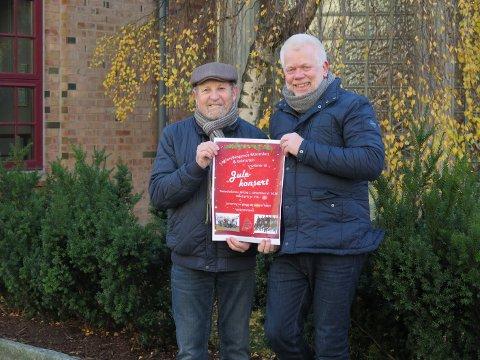 SAMARBEID: Arne Hageengen (t.v) og Jan Erik Amundsen inviterer til julekonsert i Metodistkirken lørdag 1. desember.