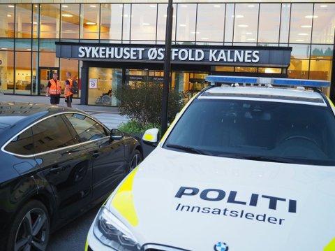 Politiet hadde opprettet KO ved hovedinngangen til sykehuset.
