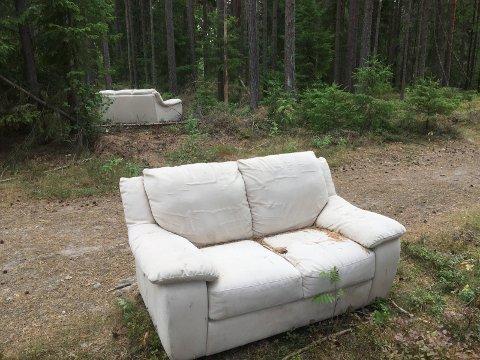 SOFA: Noen har plassert ei hel sofragruppe inne i grønn løype i Kalnesskogen.