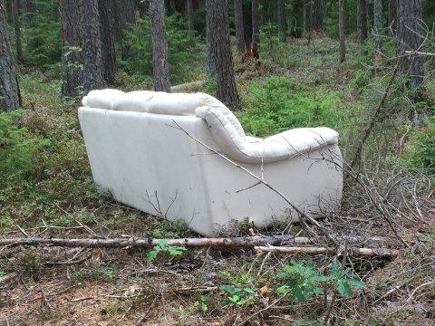 MALPLASSERT: Denne sofaen er defintivt malpalssert.