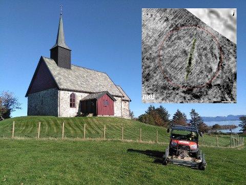 HAR TROLIG FUNNET NYTT VIKINGSKIP: Funnet er gjort ved Mira ved Edøy kirke, fire mil nordøst for Kristiansund.