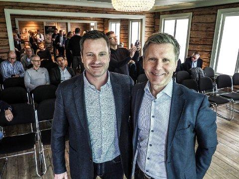 NÆRINGSSATSING: Leder i Sarpsborg Næringsforening, Morgan Pettersen og styreleder Hans Petter Vestby har stor tro på prosjektet Næringsbyen.