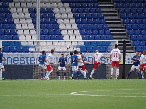 0-0: Sparta har fortsatt til gode å score mål på Sarpsborg stadion i år. Bildet er hentet fra 0-9-tapet mot FFK i første runde av cupen.