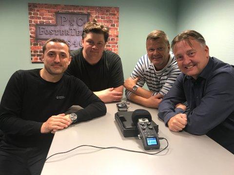 SA-PODDEN: Fra venstre: Berat Jusufi, Patrick Walther Larsen, Bjørn Inge «Bingen» Nilsen og Petter Kalnes.