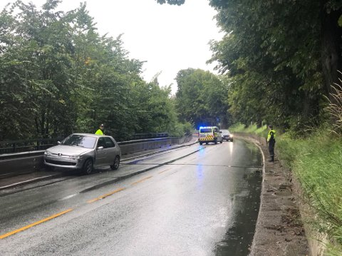 Politiets patrulje kom lørdag morgen over denne bilen i Borregaardsbakken.