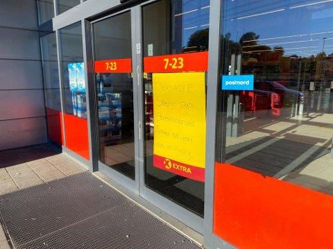 STENGT: Extra-butikken på Iseveien har stengt dørene midlertidig som følge av strømbrudd tirsdag morgen.