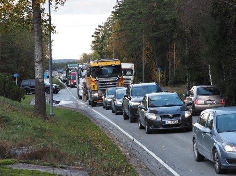 Det var tett trafikk på Borgenhaugen mandag ettermiddag.