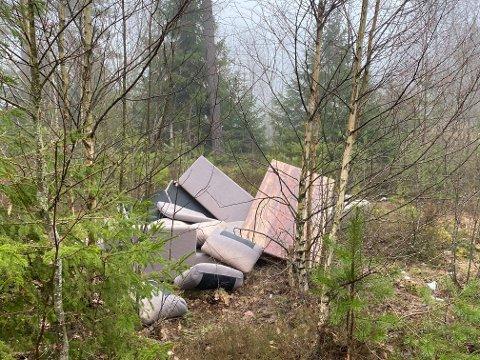 SØPPEL: Noen finner det tydeligvis i orden å kaste fra seg søppel i naturen. På Stikkaåsen flyter dette avfallet.