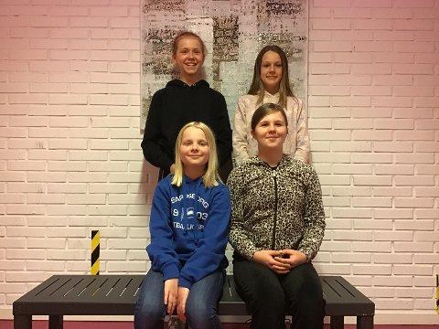 AKSJON: Elevene i sjette klasse på Children's International School i Sarpsborg fikk en god idé som de gjerne vil ha med sarpinger på. Her ser vi Anna Thornquist, Elva Bromander, Miriam Nicole Reid og Kajsa Albertine Martinussen.