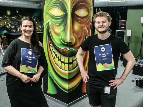 Camilla Tangen og Fredrik Mathisen oppfordrer folk til å melde seg på årets digitale UKM.
