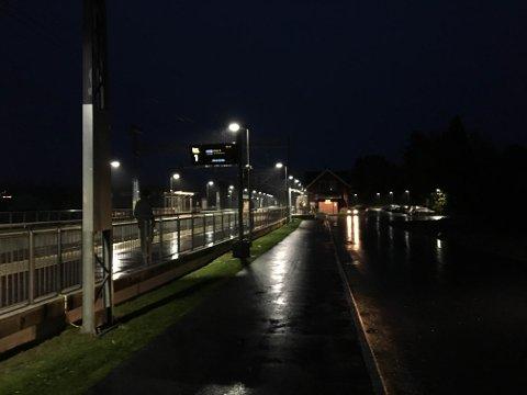 TOMTER STASJON: Pendlere på Tomter stasjon i Hobøl venter på et tog som faktisk gikk torsdag morgen. En rekke avganger er imidlertid innstilt som en følge av streiken.