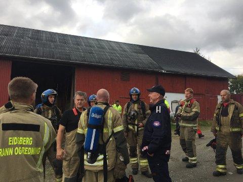 Mannskaper fra Marker, Aremark og Eidsberg rykket ut til brannen.