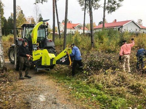I FULL SVING: Lions-medlemmer i full sving med å rydde turløypa  rundt Helgetjern på Ørje. F.v. Petter Asbjørn Aarnæs, Arne Østbye og Arne Dehli.