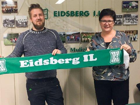 NY TRENER PÅ PLASS: Håvard Buer blir ny hovedtrener for Eidsberg IL i 7. divisjon. Det er fotballeder Catrine Nilsen godt fornøyd med.