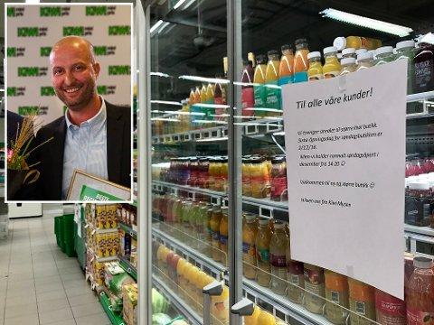 DROPPER SØNDAG: Regionsjef Ole Jørgen Kjellberg (innfelt) opplyser om at Kiwi Mysen gir seg med ordinær søndagsåpen butikk.