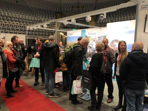 Langt flere besøkte Østfold-standen under reiselivsmessen i år. Foto: Privat