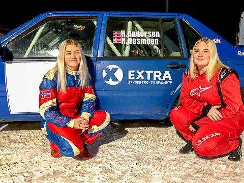 RALLYDAMER: Helene Skau Andersen (t.v.) og Nina Blørstad Nesmoen bruker alle pengene sine på rallysporten.