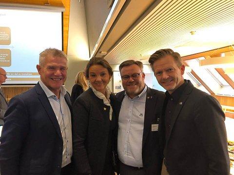 MØTTE I STORTINGET:  Bjørn Lødemel (Sogn og Fjordane Næringsråd), stortingsrepresentant Ingjerd Schou, ordfører Thor Hals og stortingsrepresentant Tage Pettersen debatterte kraftstkatt.