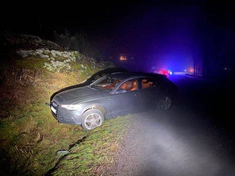 Sjåføren skal ha svingt unna et dyr og fått sleng på bilen. Deretter havnet vedkommende i grøfta.