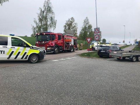 KOLLISJON: Det har vært en front mot front-ulykke ved Kråkstad kirke.
