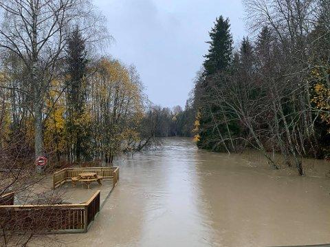 RENNER OVER: Mysenelva renner over etter gårsdagens regnvær. – Vi har fått badestrand i Mysen, skriver Torleif Pettersen på Mysen-gruppa på Facebook.