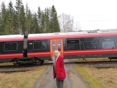 Her står toget og venter. Beboerne på Langnes nord for Askim har vært innesperret i snart to timer etter at toget ble stående da strømmen gikk.
