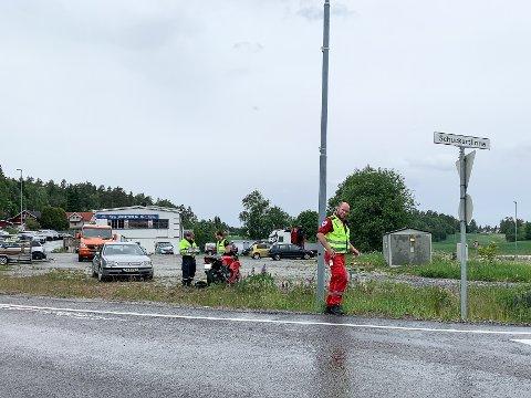 MC-føreren skled i rundkjøringen ved Krosby i Askim.