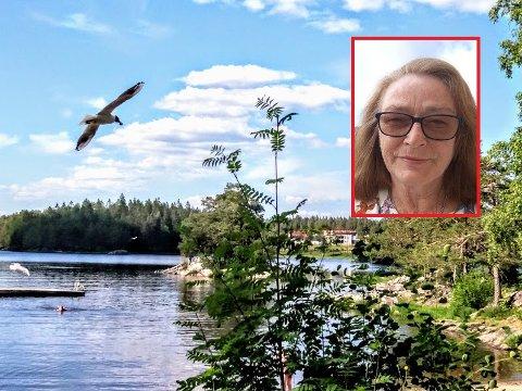 Ellen Fride Aaseth (innfelt) er mye i Tangen for å bade eller padle kajakk, og synes det er hyggelig med selskap av måkene.