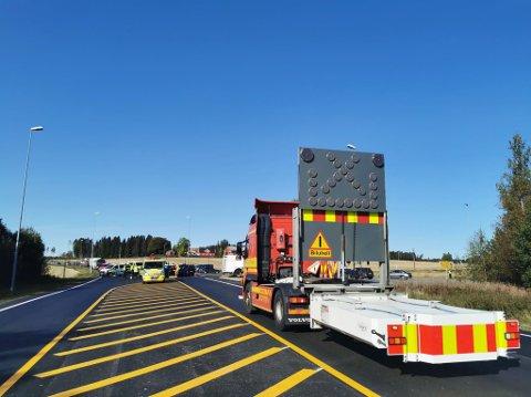 Trafikkulykken har skjedd i krysset mellom Osloveien og Spydebergveien på Knapstad.