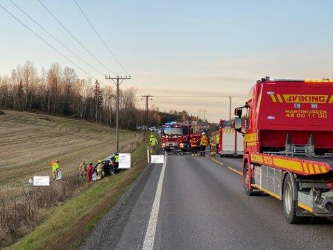 FRONT MOT FRONT: Begge førerne satt fastklemt i sine biler, da redningsetatene kom til ulykkesstedet på E18. Arkivfoto.