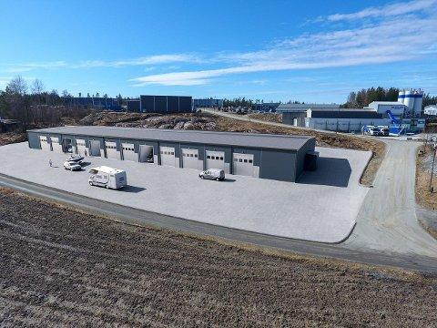 Det er planlagt en lagerhall med 24 selveierseksjoner på Myrer Skog.