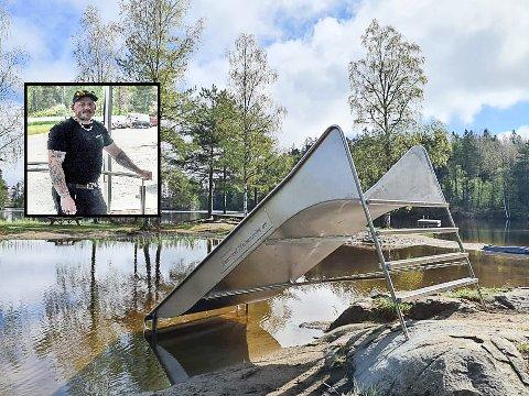 POPULÆR: Kjetil Myhrvold (innfeltet) i Baastad Mekaniske håper og tror den nye sklia vil bli populær på Gravstjern.