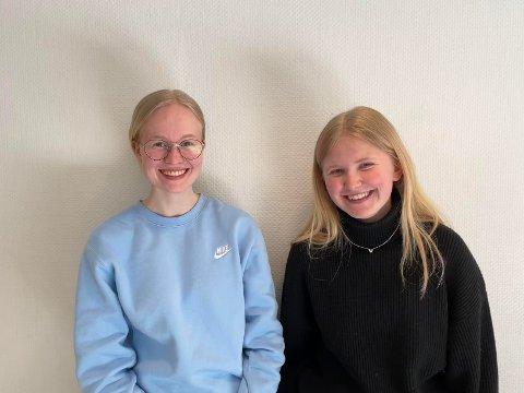 Johanne Adabay Fjærestad Solheim (17) og Hege Ovidia Rud Lunde (18) håper mange vil stemme på videoen deres.