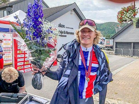 STOLT: Trym Bjørner Westgaard Holther fra Askim var i en egen klasse på 30 kilometer tempo i NM på sykkel i Kristiansand.