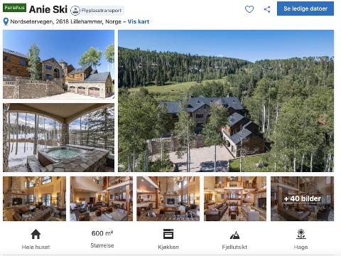 FRISTENDE BILDER: Annonsen hadde bilder som kunne ligne på Lillehammer. Skjulte detaljer avslørte den falske annonsen. (Skjermdump fra booking.com)