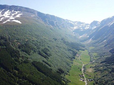 KART OVER SKREDFARE: Seljadalen i Vik kommune er eitt av dalføra som det no har kome nye skredkart for. (Foto: Skred AS)